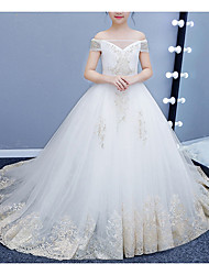cheap -Ball Gown Court Train Pageant Flower Girl Dresses - Tulle Short Sleeve Off Shoulder with Lace
