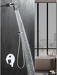 cheap -Shower Faucet Set - Rainfall Contemporary Chrome Wall Mounted Ceramic Valve Bath Shower Mixer Taps / Brass