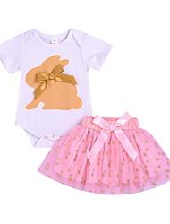 baratos -bebê Para Meninas Moda de Rua Estampado Manga Curta Padrão Conjunto Branco