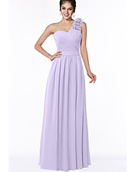 cheap -A-Line One Shoulder Floor Length Chiffon Bridesmaid Dress with Appliques / Ruching