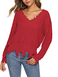 cheap -Women's Solid Colored Long Sleeve Pullover Sweater Jumper, Off Shoulder Black / White / Red M / L / XL