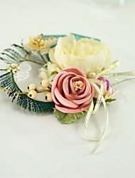 abordables -Fleurs de mariage Boutonnières / Petit bouquet de fleurs au poignet / Casque Fête de Mariage / Fête d'anniversaire Plumes / Métal / Tissus 0-10 cm