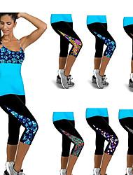 cheap -Women's High Waist Yoga Pants Print Blue+Pink White Sky Blue Purple Orange Running Fitness Gym Workout 3/4 Capri Pants Sport Activewear Butt Lift Tummy Control Power Flex High Elasticity Slim
