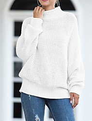 cheap -Women's Solid Colored Pullover Long Sleeve Sweater Cardigans Round Neck White Black Blue