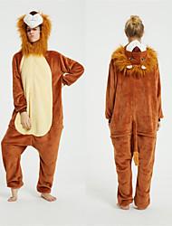 cheap -Adults' Kigurumi Pajamas Lion Onesie Pajamas Flannel Fabric Brown Cosplay For Men and Women Animal Sleepwear Cartoon Festival / Holiday Costumes