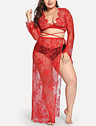 cheap -Women's Lace / Split Super Sexy Chemises & Gowns Nightwear Solid Colored Red L XL XXL / Deep V