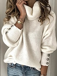 cheap -Women's Solid Colored Pullover Long Sleeve Sweater Cardigans Turtleneck White Light Blue