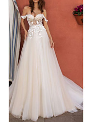 cheap -A-Line Wedding Dresses Off Shoulder Floor Length Tulle Regular Straps Boho with Draping Appliques 2020