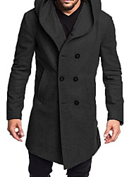 cheap -Men's Daily Fall & Winter Long Coat, Solid Colored Hooded Long Sleeve Polyester Black / Camel / Gray