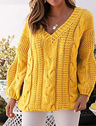 cheap -Women's Solid Colored Long Sleeve Pullover Sweater Jumper, V Neck Yellow / Blue / Red S / M / L