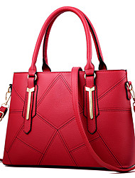 cheap -Women's Rivet Faux Leather / PU Tote Leather Bags Solid Color Wine / Black / Blushing Pink / Fall & Winter