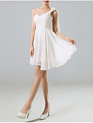 cheap -A-Line One Shoulder Mini Chiffon Bridesmaid Dress with Lace / Open Back