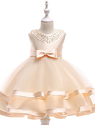 cheap -Kids Girls' Cute Butterfly Solid Colored Bow Embroidered Mesh Sleeveless Knee-length Dress Wine