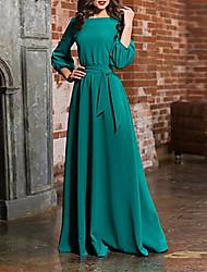 cheap -Women's Party Daily Basic Maxi Swing Dress High Waist Cotton Blue Green Wine M L XL