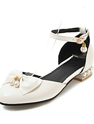 cheap -Women's Flats Low Heel Round Toe Imitation Pearl PU Casual / Preppy Spring & Summer Black / White / Pink / Wedding / Party & Evening