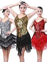 cheap -Women's Flapper Girl Latin Dance Flapper Dress Party Costume Tassel Sequins Flapper Costume Sequin Polyster Black / Gold Black / Silver White Dress
