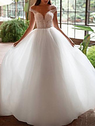 cheap -A-Line Off Shoulder Court Train Tulle Cap Sleeve Wedding Dresses with Beading / Embroidery 2020