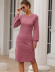 cheap -Women's Sheath Dress - Solid Colored Black Wine S M L XL