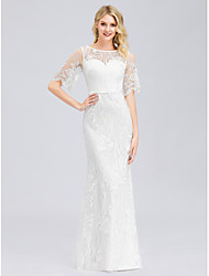 cheap -Mermaid / Trumpet Jewel Neck Floor Length Spandex / Lace Short Sleeve Casual See-Through Wedding Dresses with Lace 2020 / Illusion Sleeve