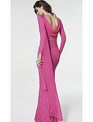 cheap -Sheath / Column Jewel Neck Sweep / Brush Train Chiffon / Lace Elegant Formal Evening Dress with Pleats 2020