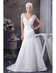 cheap -A-Line Wedding Dresses V Neck Chapel Train Lace Satin Short Sleeve with Ruched Lace Insert 2020