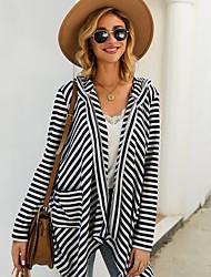 cheap -Women's Striped Long Sleeve Cardigan Sweater Jumper, Hooded Fall / Winter Black S / M / L