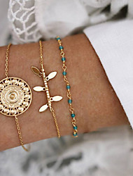 cheap -3pcs Women's Vintage Bracelet Earrings / Bracelet Pendant Bracelet Layered Lucky Simple Classic Trendy Fashion Boho Alloy Bracelet Jewelry Gold For Gift Daily School Holiday Festival