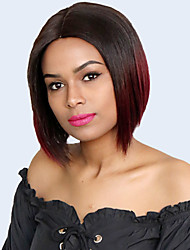 cheap -Remy Human Hair Unprocessed Virgin Hair L Part Wig Bob Pixie Cut Side Part style Brazilian Hair Peruvian Hair Straight Burgundy Wig 150% Density Classic Best Quality New Arrival Hot Sale 100% Virgin