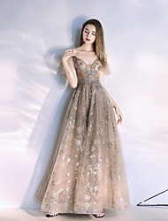 cheap -A-Line Spaghetti Strap Floor Length Tulle Elegant Prom Dress with Sequin 2020