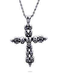 Недорогие -Муж. Ожерелья с подвесками геометрический Крест Мода Титановая сталь Серебряный 50 cm Ожерелье Бижутерия 1шт Назначение Повседневные Праздники