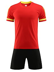 cheap -Men's Soccer Jersey and Shorts Clothing Suit Breathable Quick Dry Soft Team Sports Active Training Football Cotton Adults Teen Black White Ruby / Micro-elastic