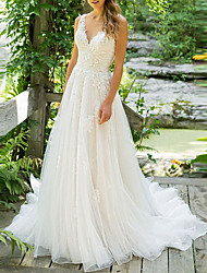 cheap -A-Line V Neck Court Train Tulle Spaghetti Strap Beach Illusion Detail / Backless Wedding Dresses with Appliques 2020