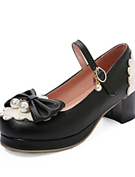 cheap -Women's Heels Chunky Heel Round Toe Bowknot / Imitation Pearl PU Sweet / Preppy Spring & Summer Black / Pink / Beige / Color Block