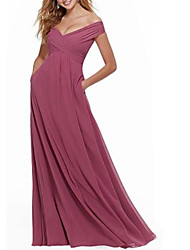 cheap -A-Line Off Shoulder Floor Length Jersey Bridesmaid Dress with Pleats / Open Back