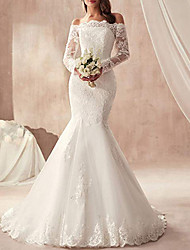 cheap -Mermaid / Trumpet Off Shoulder Sweep / Brush Train Tulle Regular Straps Illusion Sleeve Wedding Dresses with Appliques 2020