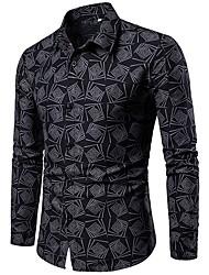 cheap -Men's Plus Size Geometric Shirt Daily Black / Blue / Green / Long Sleeve