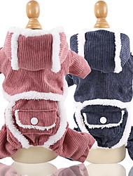 baratos -Cachorros Camisola com Capuz Macacão Inverno Roupas para Cães Azul Rosa claro Ocasiões Especiais Veludo Cotelê Retalhos Fantasias XS S M L XL XXL