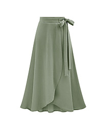 cheap -Women's Valentine Street chic Asymmetrical A Line Skirts - Solid Colored Split / Drawstring Black Blushing Pink Army Green L XL XXL / Loose
