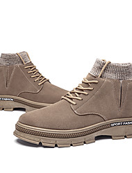 cheap -Men's Combat Boots Canvas Fall & Winter Casual Boots Breathable Black / Camel / Gray