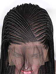 cheap -Synthetic Lace Front Wig Box Braids Braid Lace Front Wig Long Black#1B Synthetic Hair 24-26 inch Women's Adjustable Heat Resistant Party Black