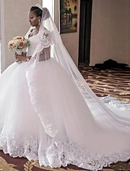 cheap -Ball Gown Wedding Dresses V Neck Cathedral Train Lace Tulle Lace Over Satin Regular Straps Beautiful Back Plus Size Wedding Dress with Appliques 2021