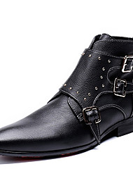cheap -Men's Fashion Boots Nappa Leather Spring & Summer / Fall & Winter Classic / Casual Boots Warm Booties / Ankle Boots Black / Party & Evening