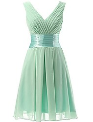 cheap -A-Line V Neck Short / Mini Polyester Bridesmaid Dress with Ruching