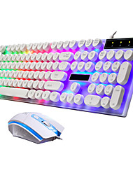 cheap -Rainbow Colorful LED Backlit Waterproof Wired Keyboard and Mouse Set Gaming Keyboard Suspension Round Key Cap Keyboard PC Laptop