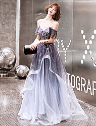 cheap -A-Line Off Shoulder Sweep / Brush Train Tulle Sparkle & Shine / Elegant Prom / Formal Evening Dress 2020 with Beading / Sequin by Lightinthebox