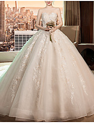 cheap -A-Line Sweetheart Neckline Cathedral Train Polyester Strapless Made-To-Measure Wedding Dresses with Beading / Crystals 2020