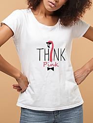 cheap -Women's Daily Going out Basic T-shirt - Animal / Cartoon / Letter Flamingos, Print Light Blue