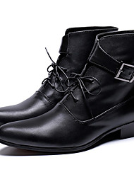 cheap -Men's Fashion Boots Nappa Leather Winter / Fall & Winter Classic / Vintage Boots Warm Booties / Ankle Boots Black / Party & Evening
