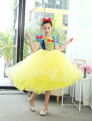 cheap -Princess Dress Cosplay Costume Flower Girl Dress Kids Girls' A-Line Slip Cartoon Vacation Dress Halloween Christmas Halloween Children's Day Festival / Holiday Yellow Easy Carnival Costumes Princess