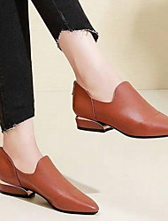 cheap -Women's Boots Flat Heel Pointed Toe PU Booties / Ankle Boots Fall & Winter Black / Brown